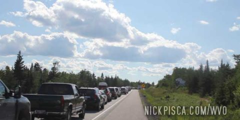 Odd Traffic Jam near Kenora Ontario