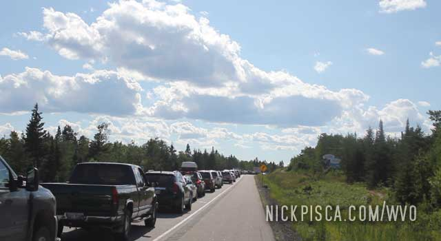 Odd Traffic Jam near Kenora Ontario