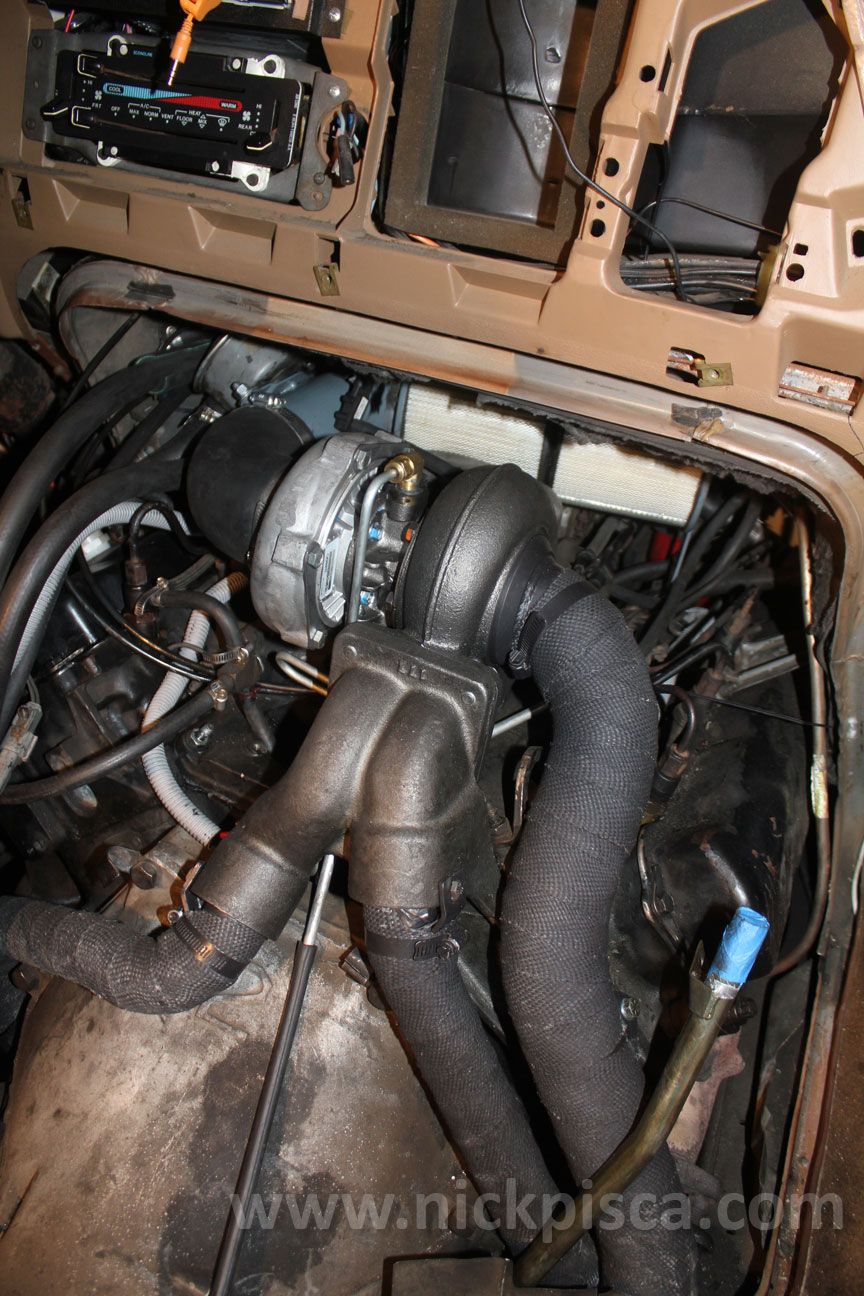 Hypermax Van Turbo Install For The 73 Idi In A 1988 Ford Clubwagon F 250 7 3 Coolant Temp Sensor Configuration We Tried So End Just Made Simple Bend Aluminum Line Connected By Rubber Hoses At Safe Distance From Any Exhaust Heat