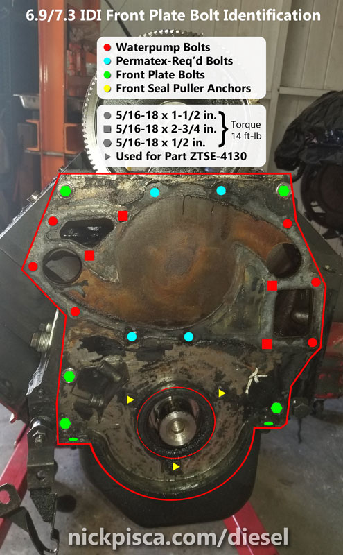 Which Bolts To Permatex On A 6 9 7 3 Idi Waterpump Idi Online