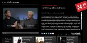 Screen capture from the 361 aecworldexpo.com site.  Interview Dennis Shelden and Frank Gehry.