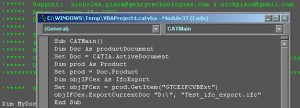 Screen capture of NP's DP script editor for the IFC Export