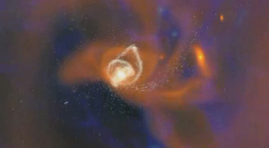 "Screen capture of Nova's ""Monster of the Milky Way"" 2009.  Claimed Milky Way creation simulation."
