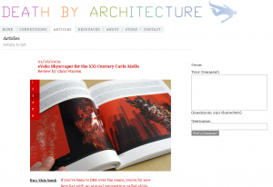 Screencapture of DBA site of photograph of the Evolo book which featured my Genotower project by Nick Pisca.