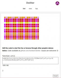Using nested loops to make a grid of rectangles in Dwitter.  Using the loop counters to alter the colors too.