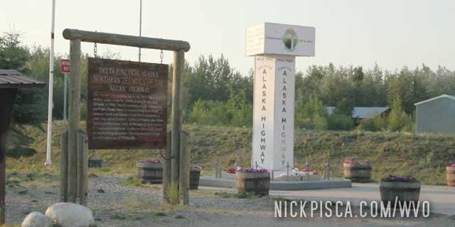 End of Alaska Hwy at Delta Junction