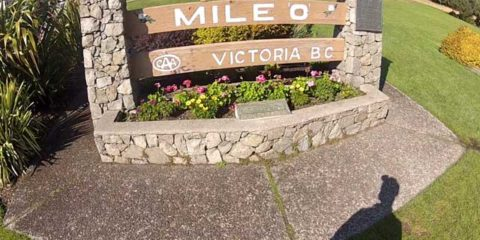 Mile Zero Monument on the Trans-Canadian Highway